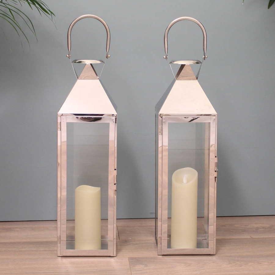 Most Current Two Knightsbridge Silver Candle Lanterns 55cmgarden Selections With Regard To Silver Outdoor Lanterns (View 5 of 20)