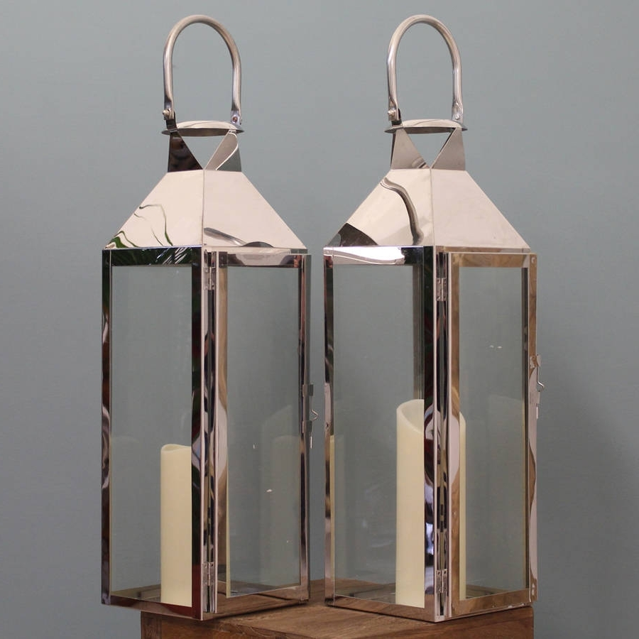Most Current Two Knightsbridge Silver Candle Lanterns 55cmgarden Selections Within Silver Outdoor Lanterns (View 7 of 20)