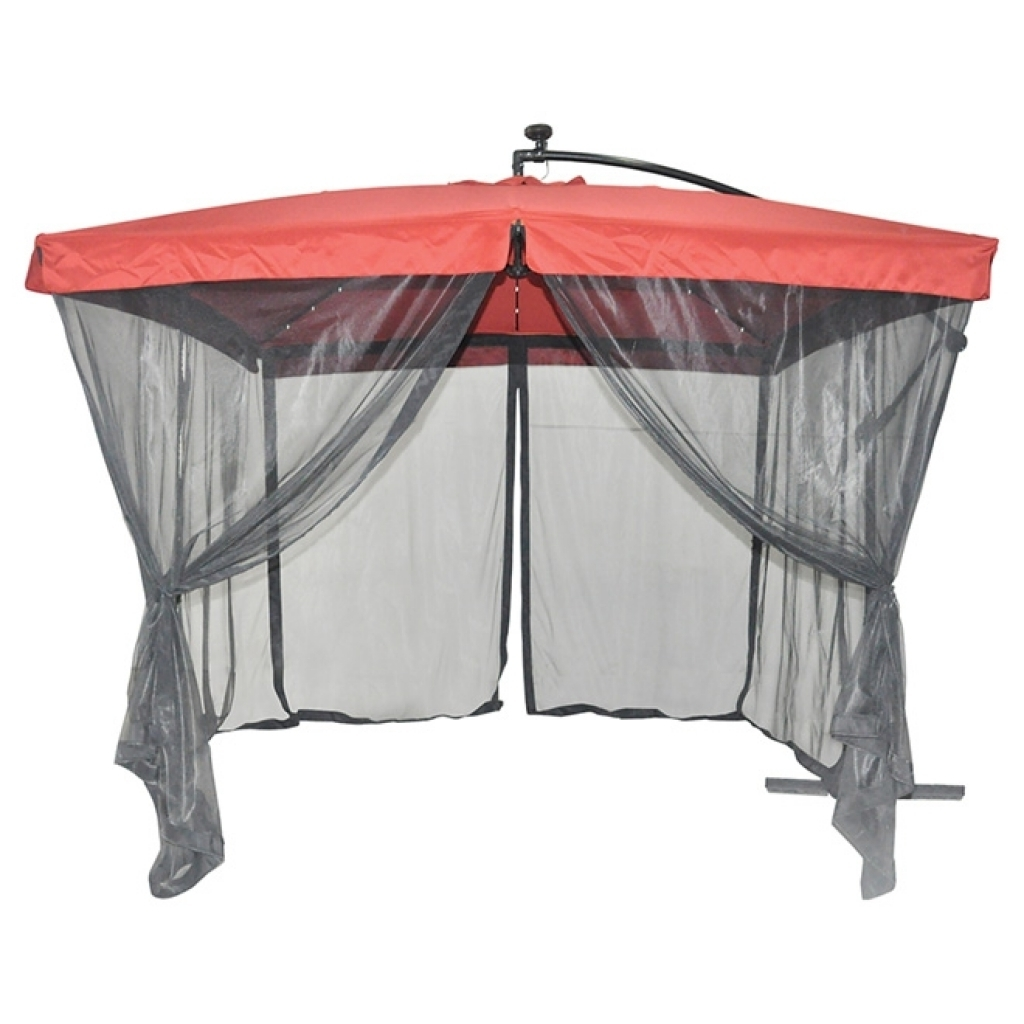 Most Current Uberhaus Solar Lighted Cantilever Patio Umbrella With Netting With Regard To Patio Umbrellas With Netting (View 6 of 20)