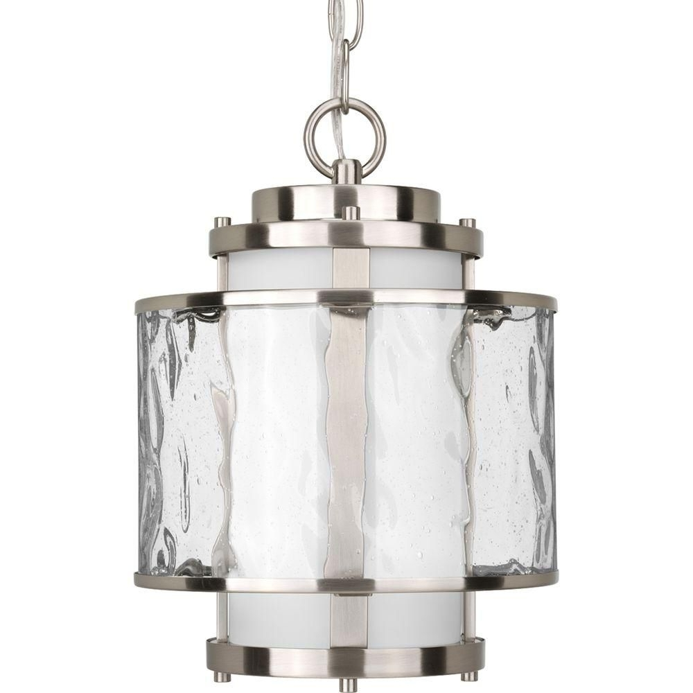 Most Popular Bay Court Collection Brushed Nickel Outdoor Hanging Lantern With Nickel Outdoor Lanterns (View 15 of 20)