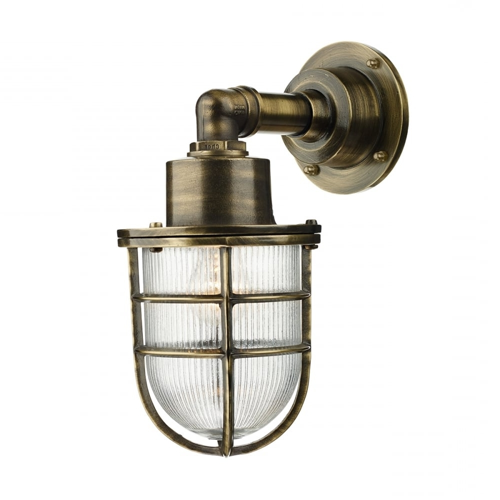 Most Popular Crewe Nautical Industrial Style Outdoor Wall Light In Brass In Industrial Outdoor Lanterns (View 15 of 20)