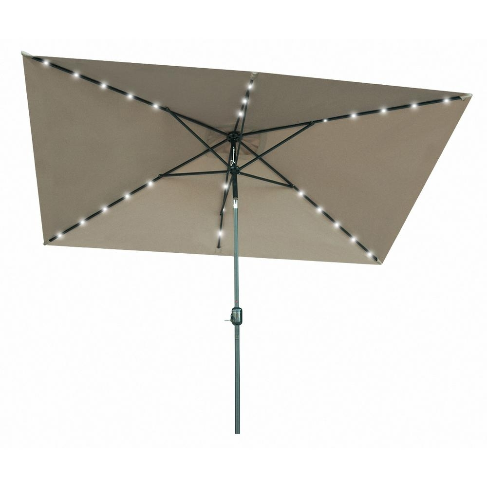 Most Popular Lighted Patio Umbrellas Throughout Trademark Innovations 10 Ft. X 6.5 Ft (View 10 of 20)
