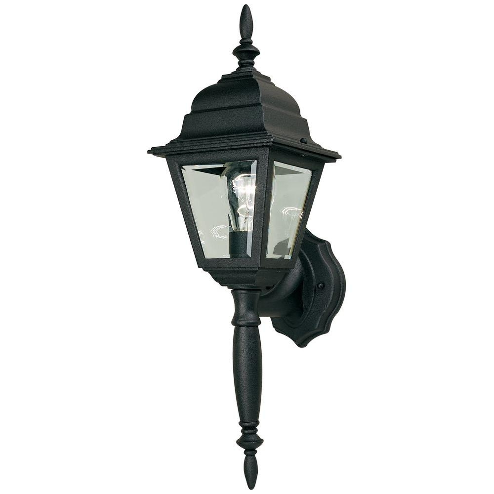 Most Popular Outdoor Lamp Lanterns Intended For Hampton Bay 1 Light Black Outdoor Wall Lamp Hb7023P 05 – The Home Depot (View 6 of 20)