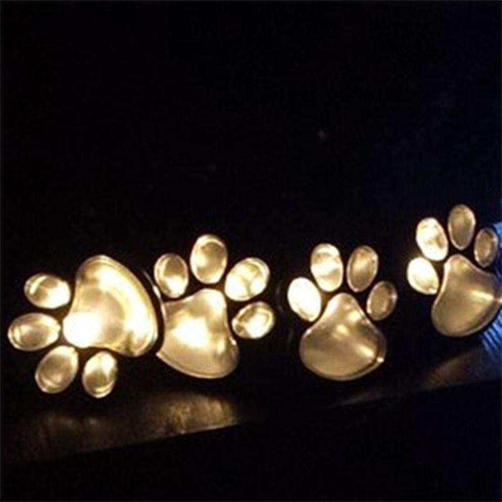 Most Popular Outdoor Lanterns With Led Lights Regarding 4 Solar Cat Animal Paw Print Lights Garden Outdoors Lantern Led Path (View 20 of 20)