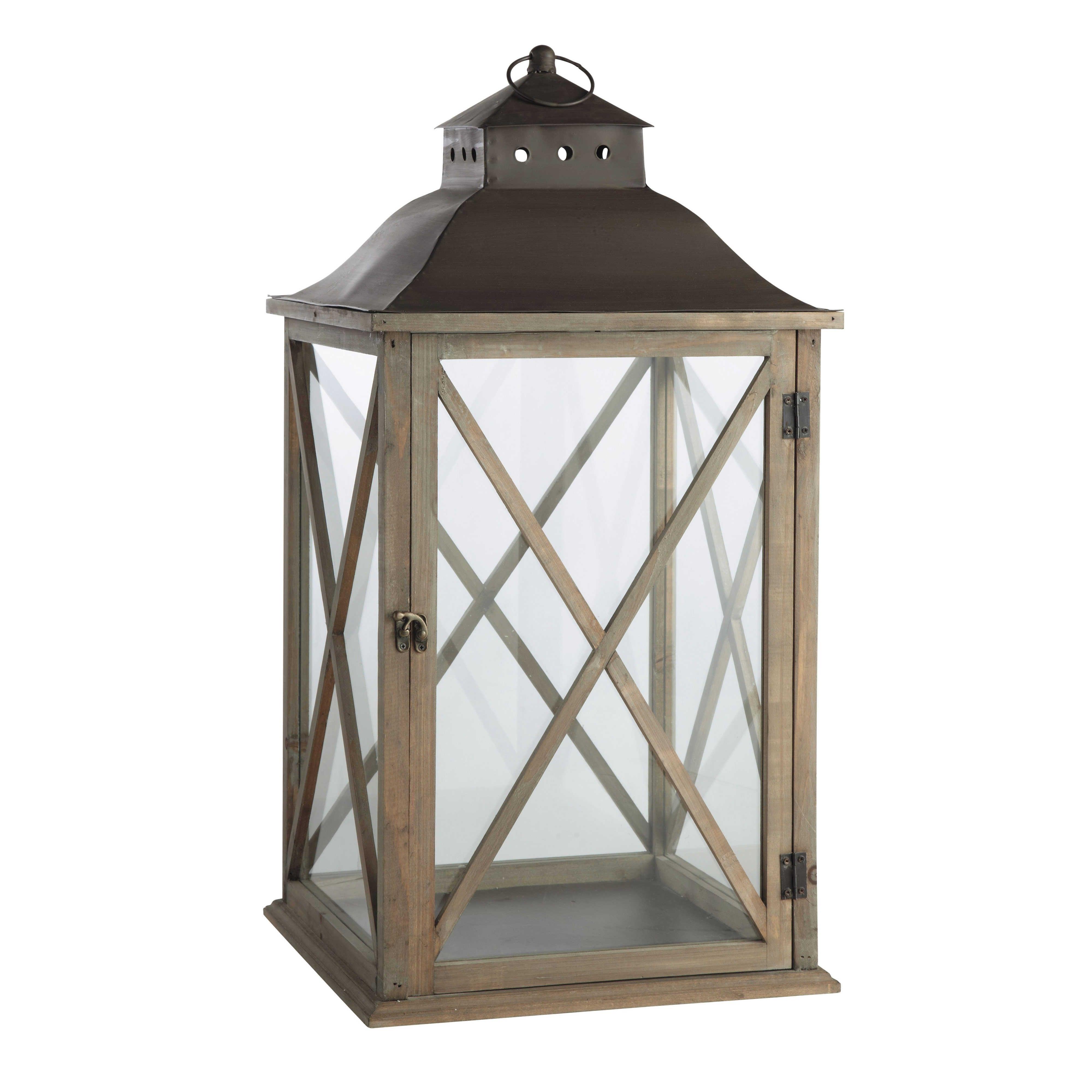 Most Popular Outdoor Wood Lanterns With Regard To Grey Wood Garden Lantern H 72cm (View 17 of 20)