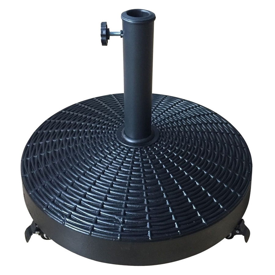 Most Popular Patio Umbrella Stands With Wheels Within Shop Black Patio Umbrella Base At Lowes (View 12 of 20)