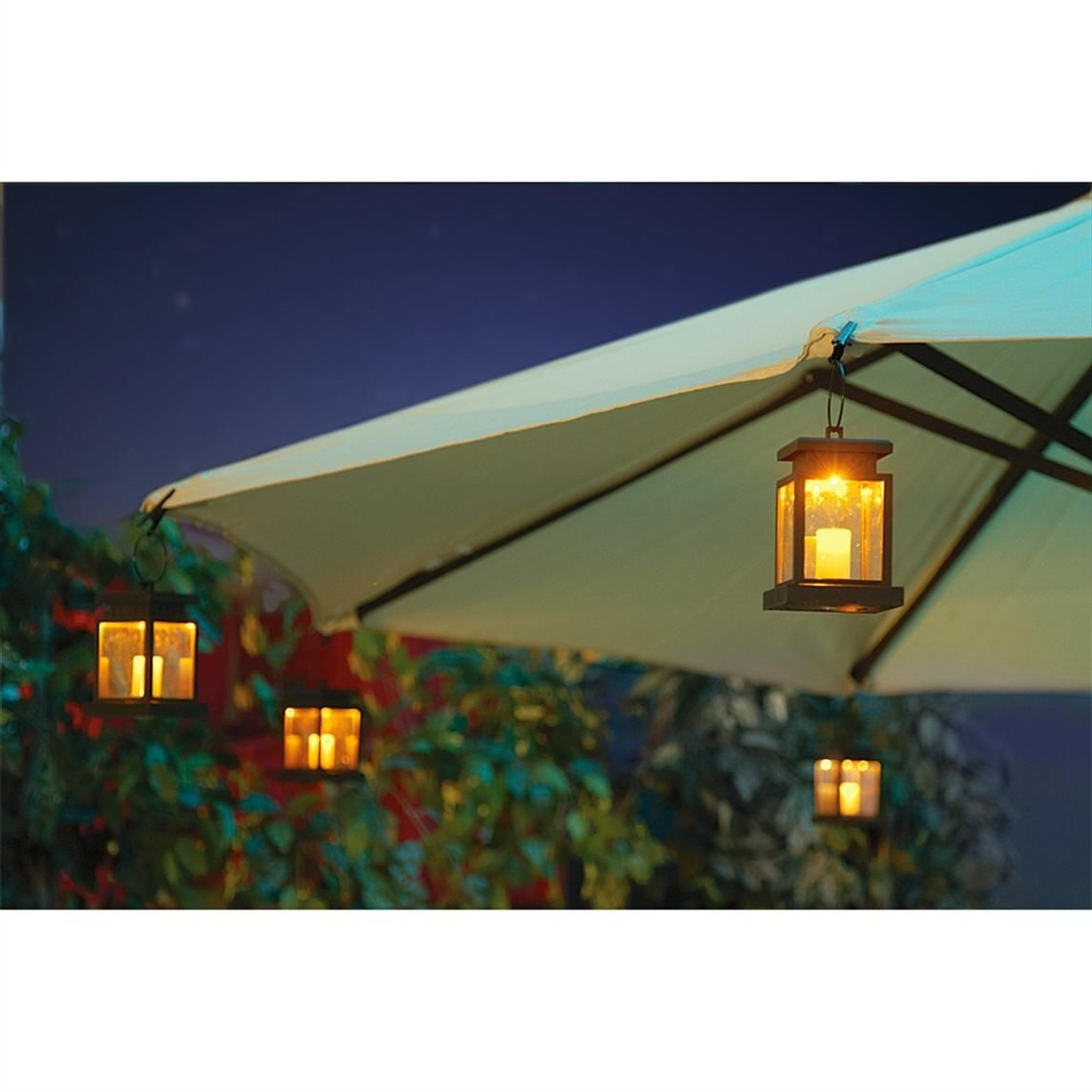 Most Popular Patio Umbrellas With Solar Lights In 4 – Pk. Of Solar Patio Umbrella Clip Lights (View 6 of 20)