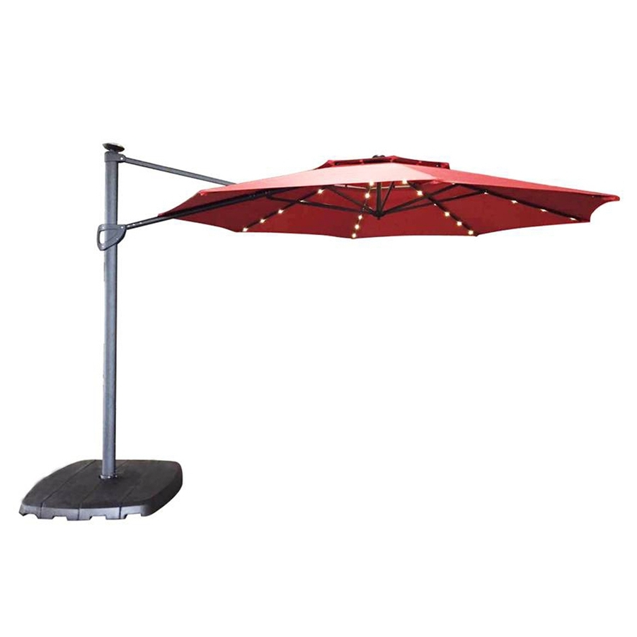 Most Popular Shop Simply Shade Red Offset Pre Lit 11 Ft Patio Umbrella With Base For Lighted Patio Umbrellas (View 11 of 20)