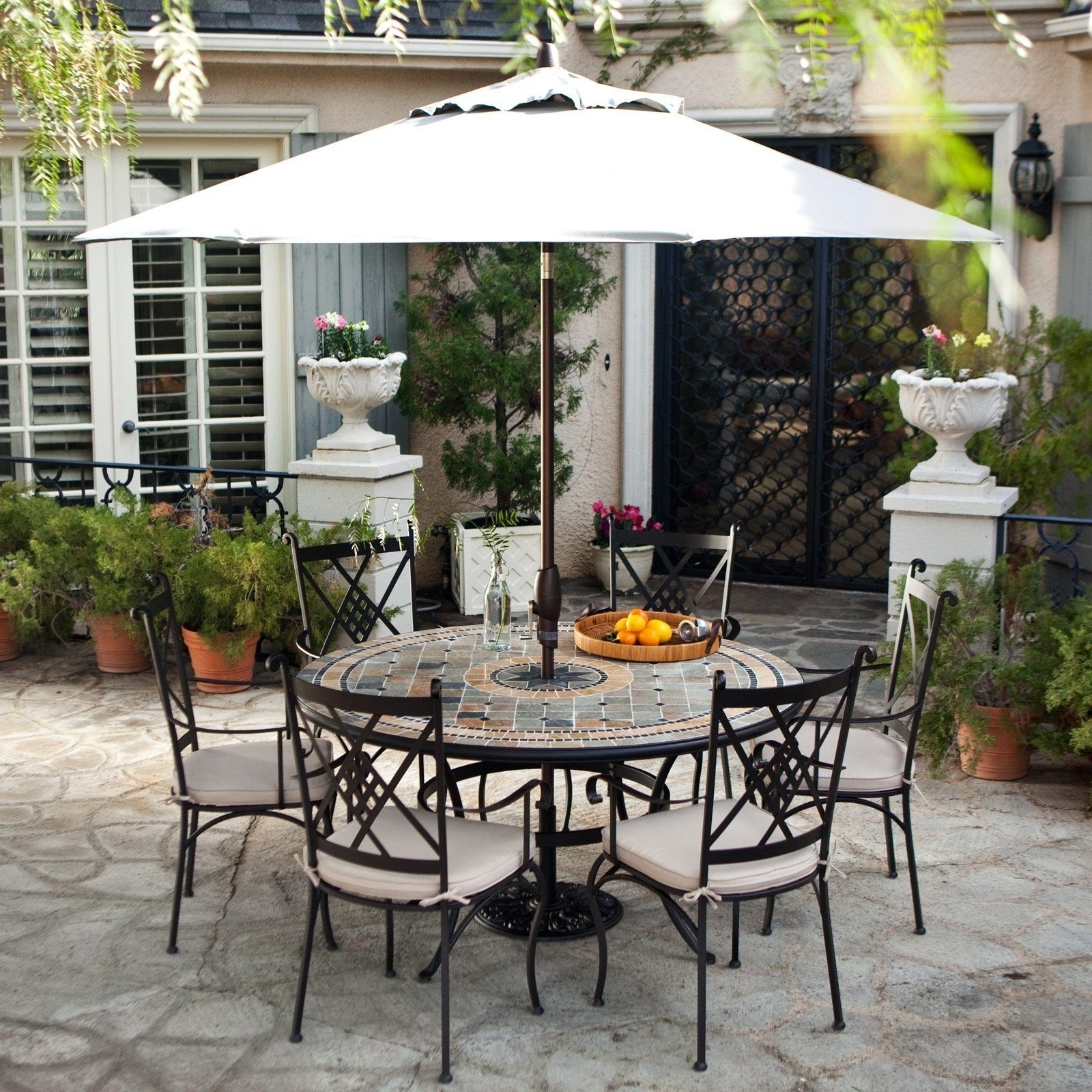 Most Recent Garden: Enchanting Outdoor Patio Decor Ideas With Patio Umbrellas With Regard To Small Patio Tables With Umbrellas (View 9 of 20)