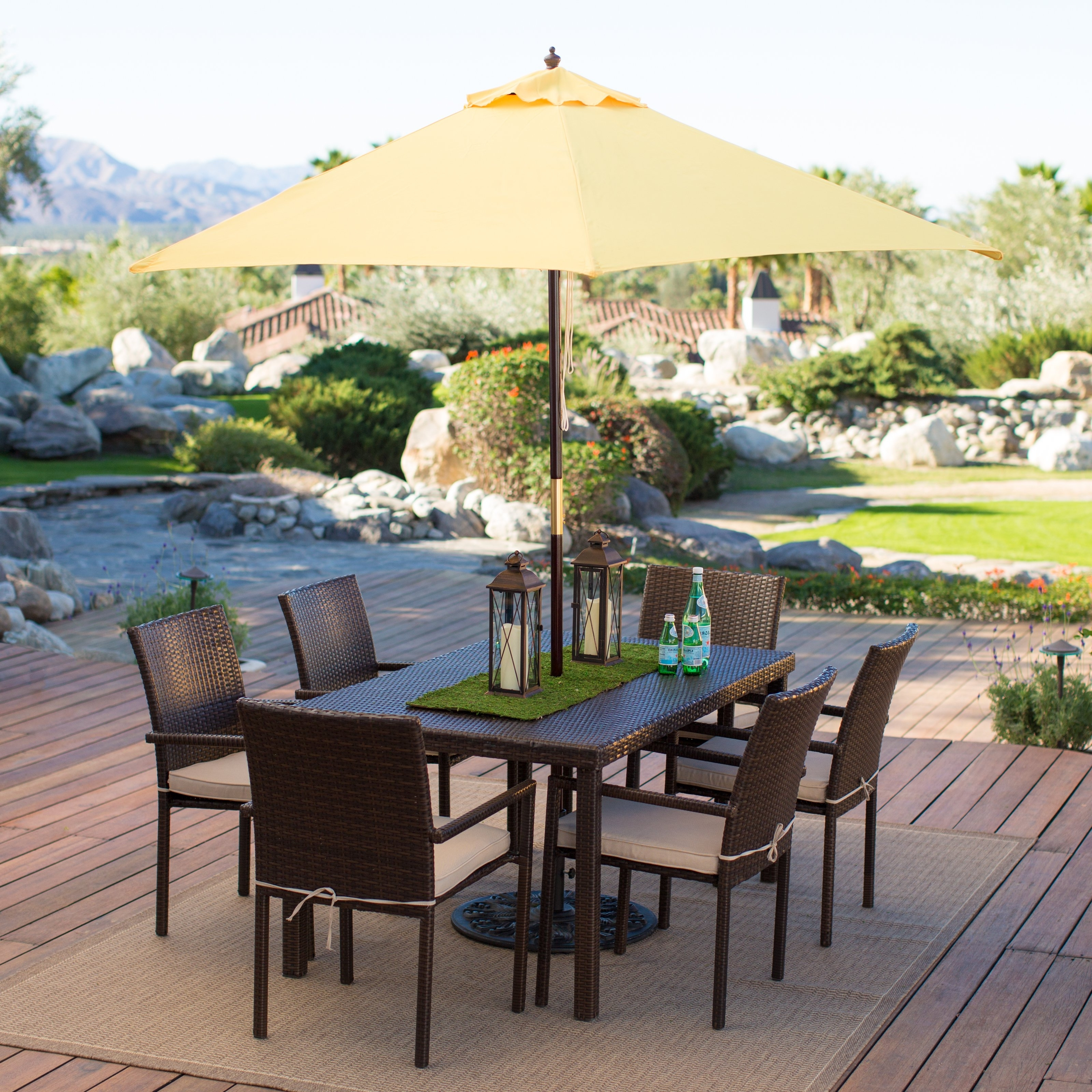 Most Recent Giant Patio Umbrellas Within Garden: Enchanting Outdoor Patio Decor Ideas With Patio Umbrellas (View 14 of 20)