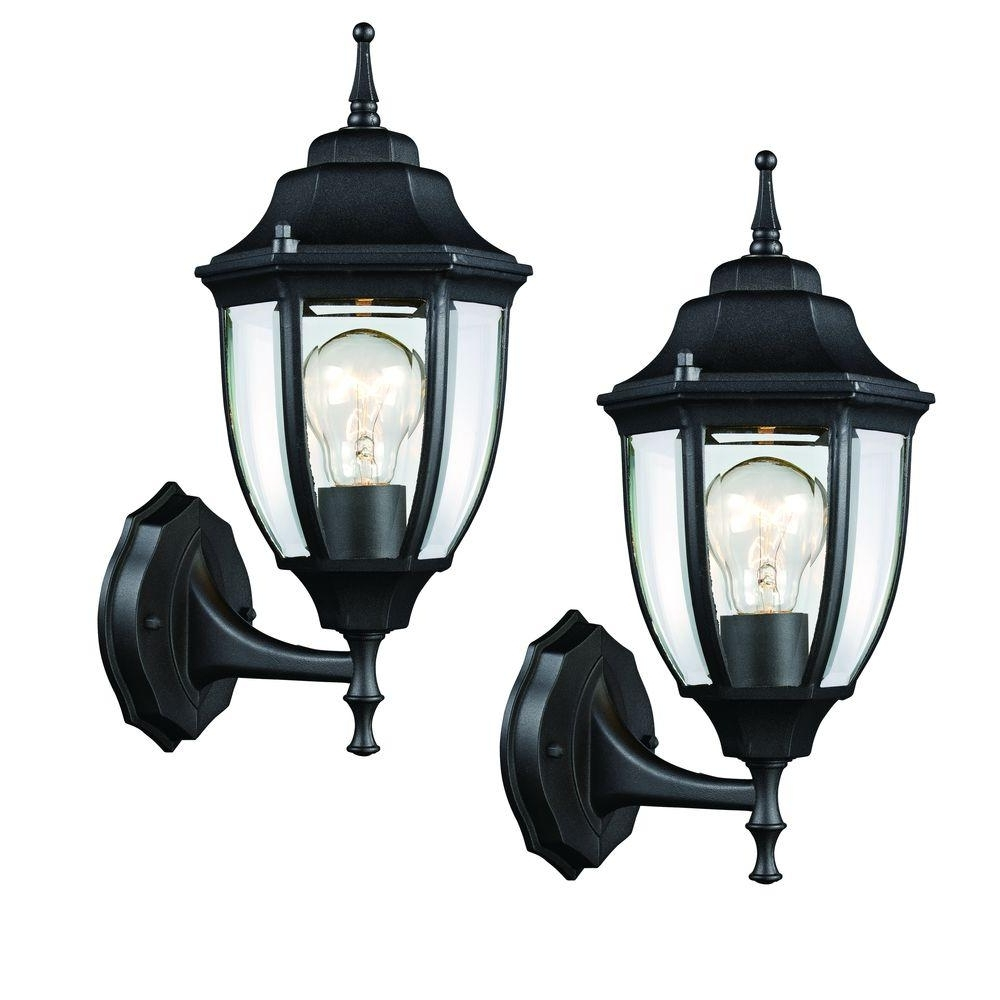 Most Recent Hampton Bay Black Outdoor Wall Lantern (2 Pack) Hd 4470t Bk – The Throughout Outdoor Weather Resistant Lanterns (View 11 of 20)