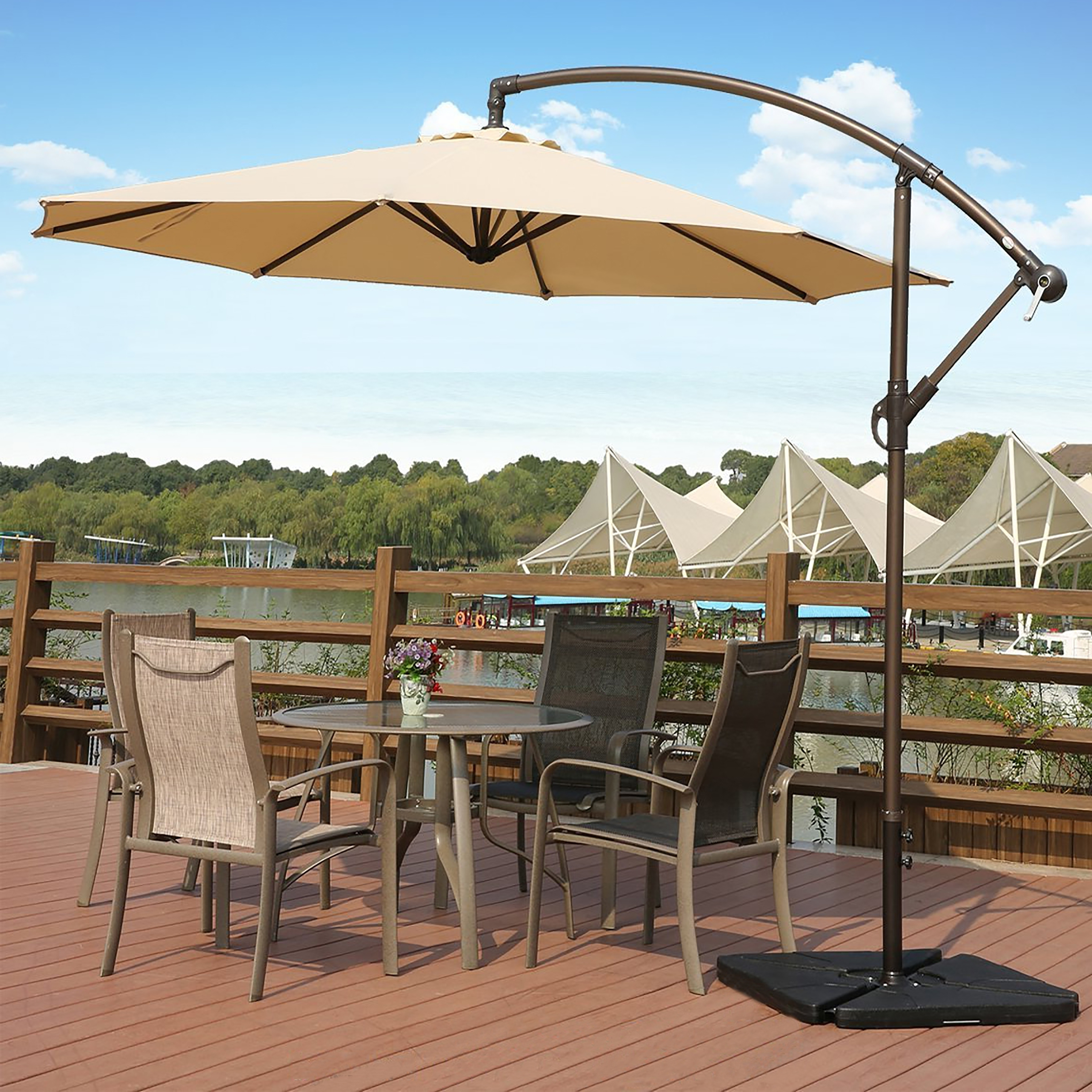 Most Recent Hanging Offset Patio Umbrellas Throughout Shop Weller 10 Ft Offset Cantilever Hanging Patio Umbrellawestin (View 15 of 20)
