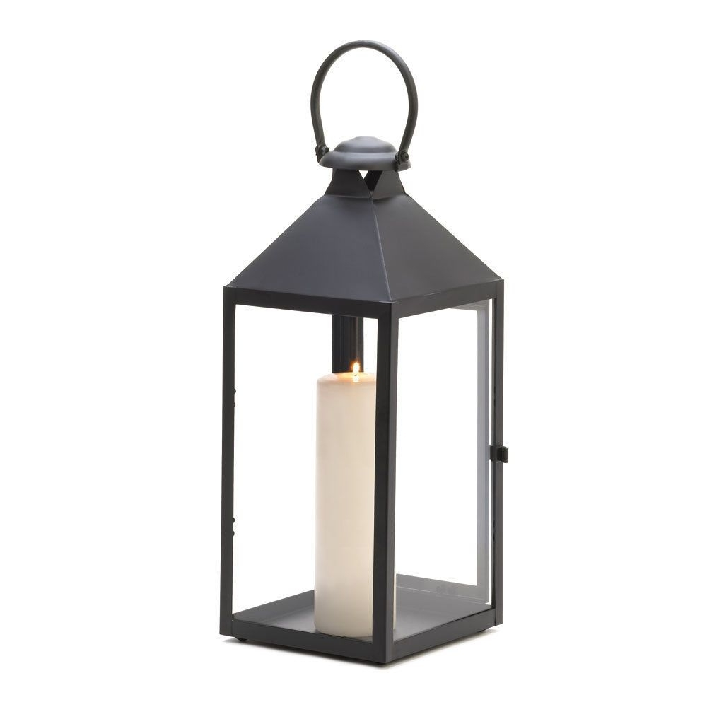 Most Recent Large Classical/simple Black Iron & Glass Candle Holder Lantern Regarding Black Outdoor Lanterns (View 13 of 20)