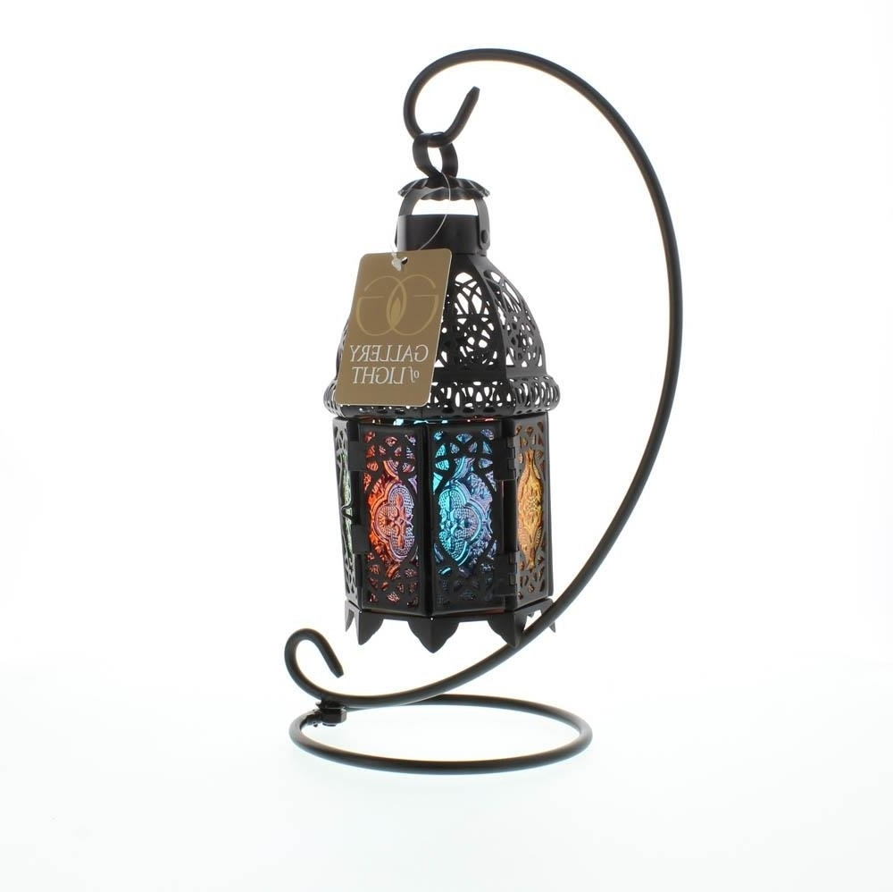 Most Recent Outdoor Standing Lanterns With Regard To Lantern Stand, Moroccan Glass Iron Outdoor Candle Rainbow Lanterns (View 4 of 20)