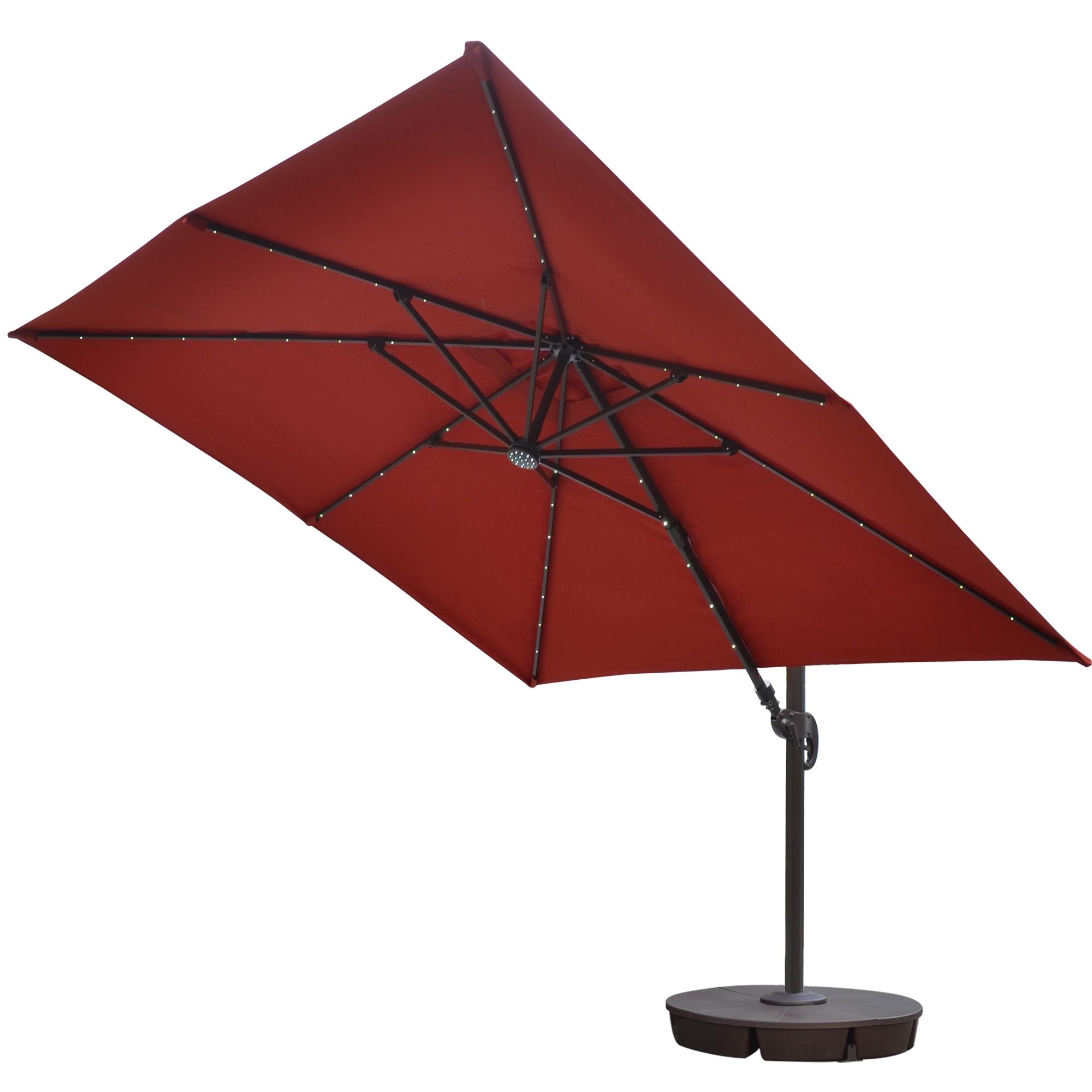Most Recent Patio Umbrellas With Fans Inside Island Umbrella Santorini Ii Fiesta 10 Ft Square Cantilever Solar (View 13 of 20)
