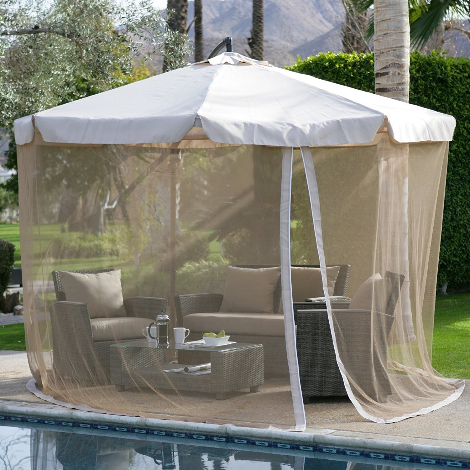 Most Recent Patio Umbrellas With Netting Throughout 11' Outdoor Patio Offset Umbrella W/ Netting And 50 Similar Items (View 7 of 20)
