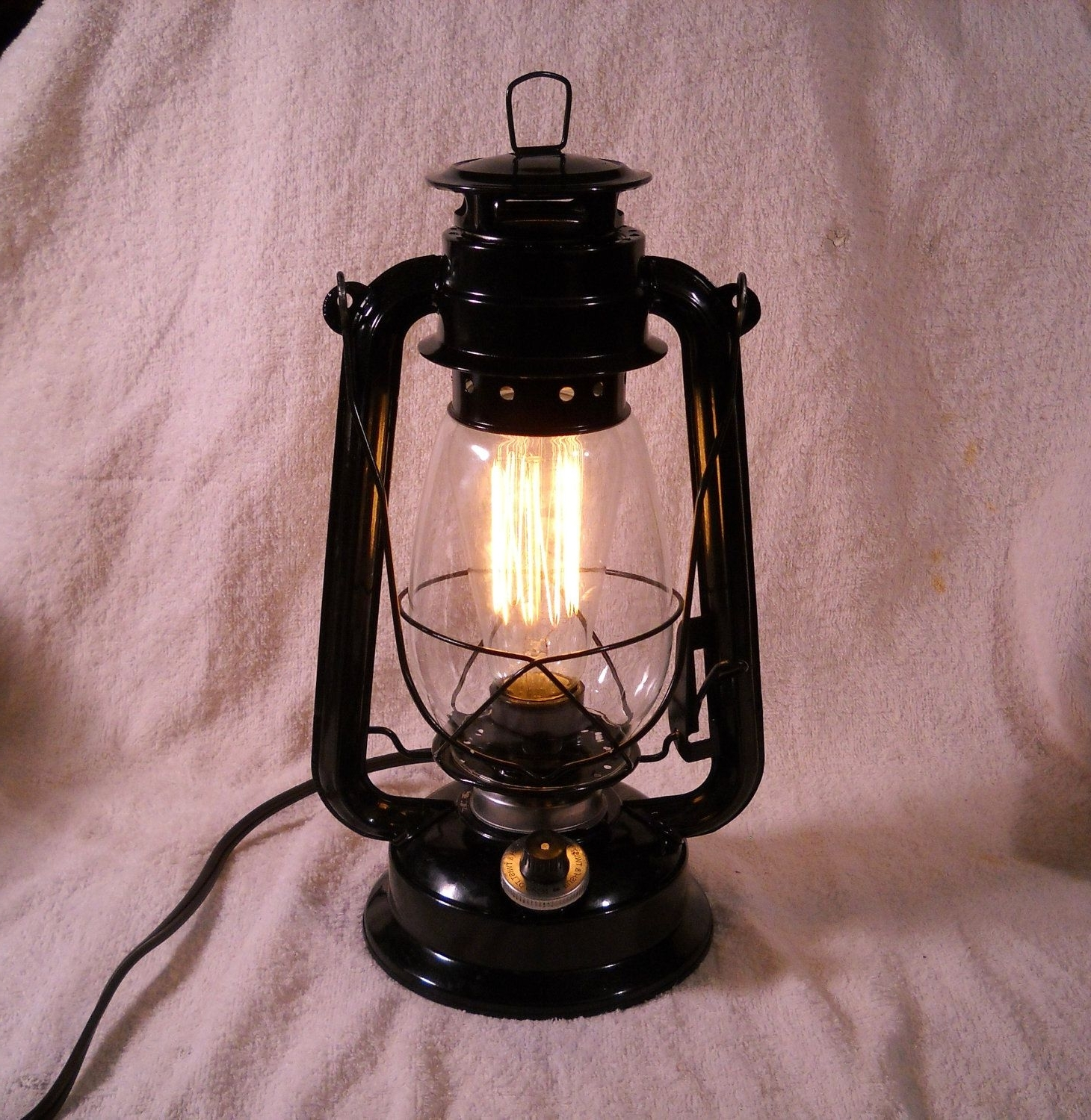 Most Recent Rustic Outdoor Electric Lanterns Inside Black Electric Lantern Industrial Table Lamp Hanging Lighting With (View 8 of 20)