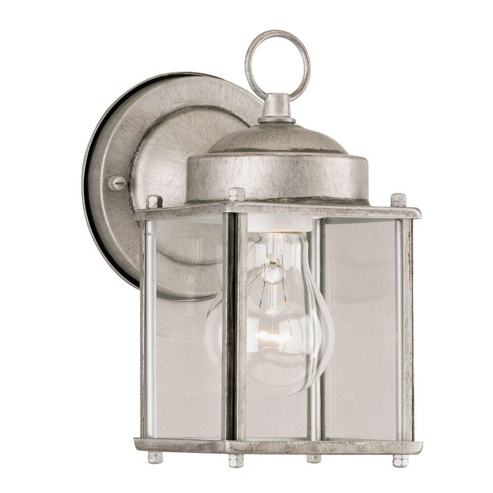 Most Recent Silver Outdoor Lanterns Intended For Westinghouse 1 Light Antique Silver Steel Exterior Wall Lantern With (View 10 of 20)