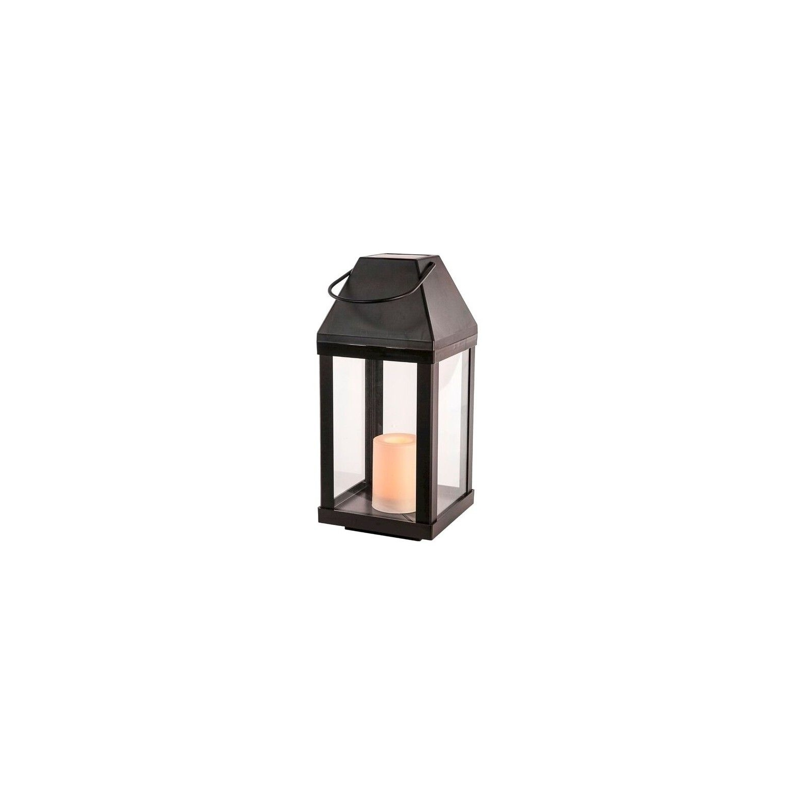 Most Recently Released 2Pc Outdoor Solar Lantern W/ Candle – Metal/black – Threshold Regarding Outdoor Lanterns At Target (View 12 of 20)