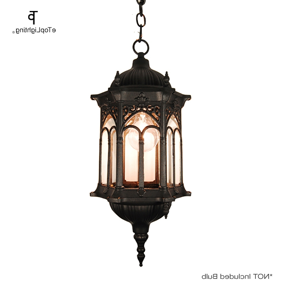 Most Recently Released Matte Black Medieval Style Outdoor Hanging Porch Light Lantern Pertaining To Outdoor Weather Resistant Lanterns (View 8 of 20)