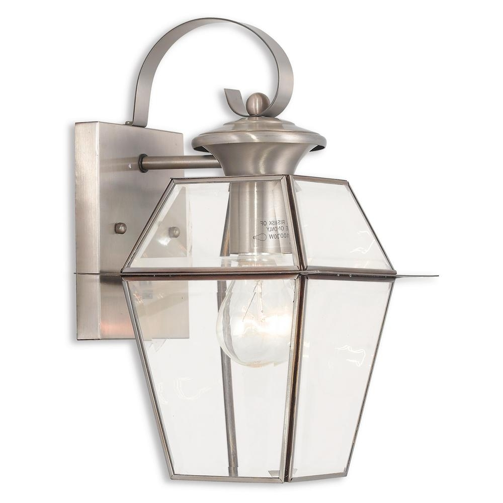Most Recently Released Nickel Outdoor Lanterns With Livex Lighting Westover 1 Light Brushed Nickel Outdoor Wall Mount (View 9 of 20)