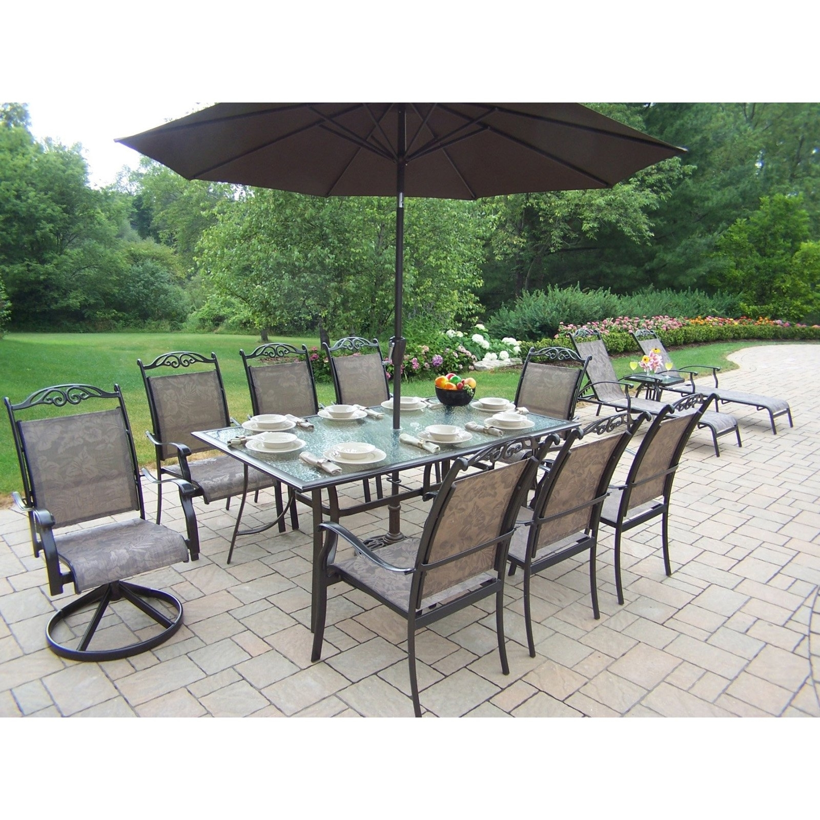 Most Recently Released Patio Tables With Umbrellas With Oakland Living Cascade Patio Dining Set With Umbrella And Stand (View 6 of 20)