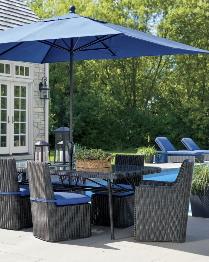Most Recently Released Rectangular Patio Umbrellas Regarding Rectangular Sunbrella ® Mediterranean Blue Patio Umbrella With Black (View 13 of 20)