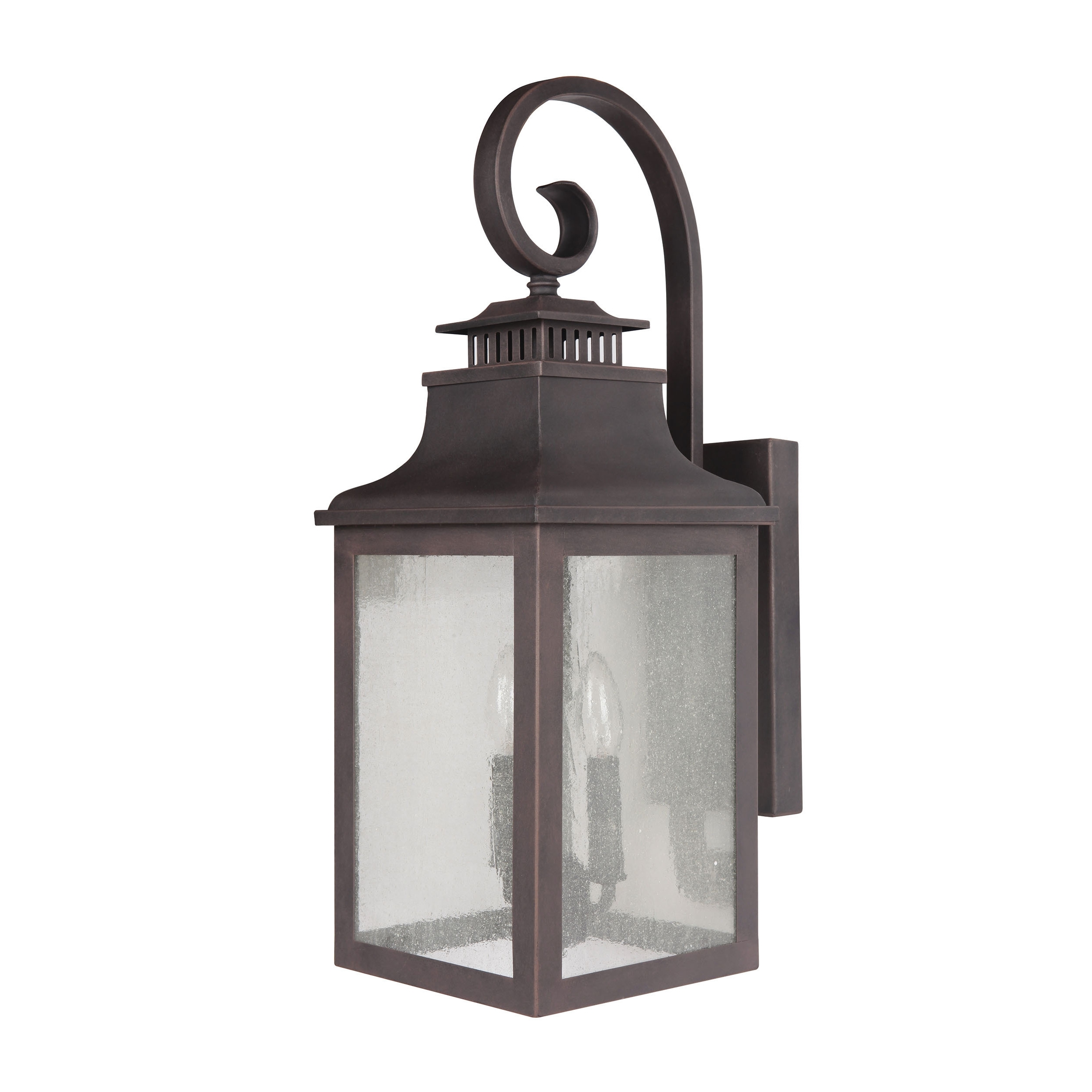 Most Recently Released Rustic Outdoor Electric Lanterns Pertaining To Shop Y Decor Morgan 2 Light Exterior Light In Rustic Bronze – Free (View 19 of 20)