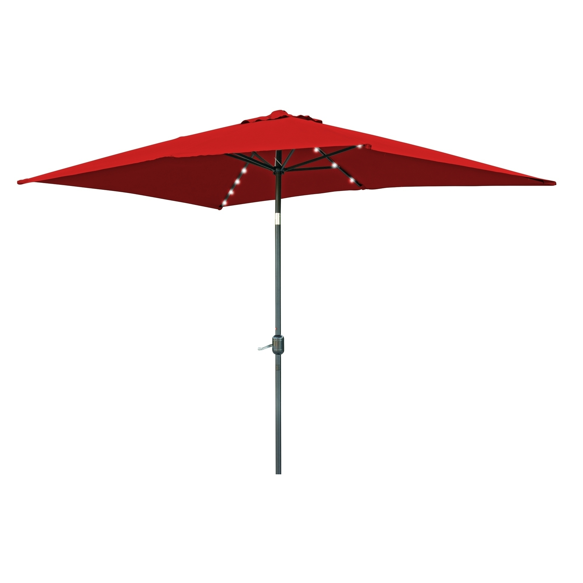 Most Recently Released Shop Rectangular Solar Powered Led Lighted Patio Umbrella – 10' X Regarding Red Patio Umbrellas (View 7 of 20)