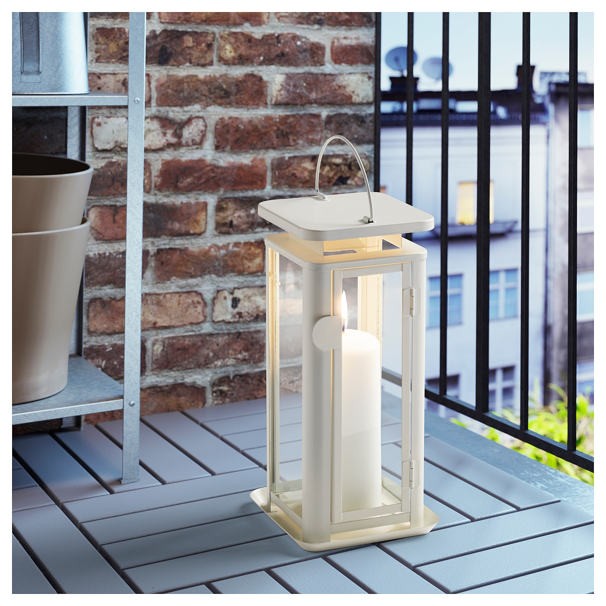 Most Recently Released Sinnesro Lantern F Block Candle, In/outdoor White Ikea (View 16 of 20)