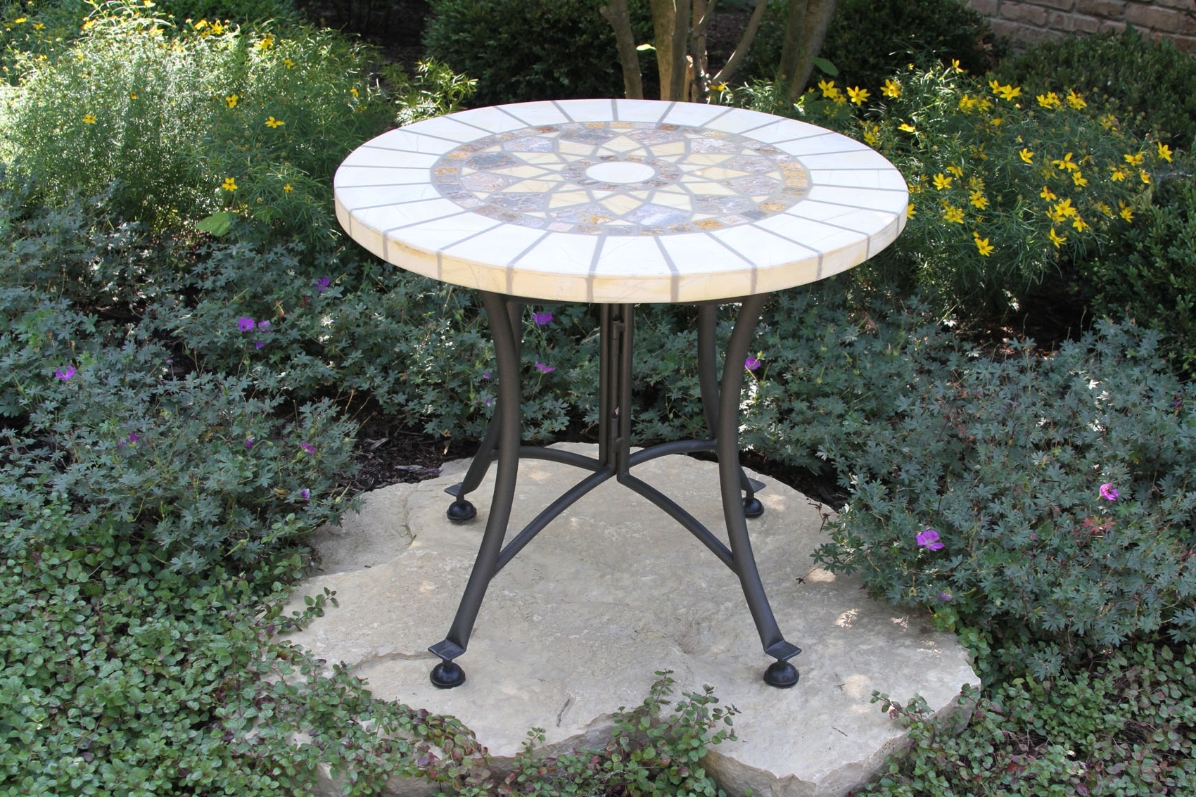 Most Recently Released Stone & The Hardwoods Collection From Outdoor Interiors With Regard To Patio Umbrellas With Accent Table (View 16 of 20)