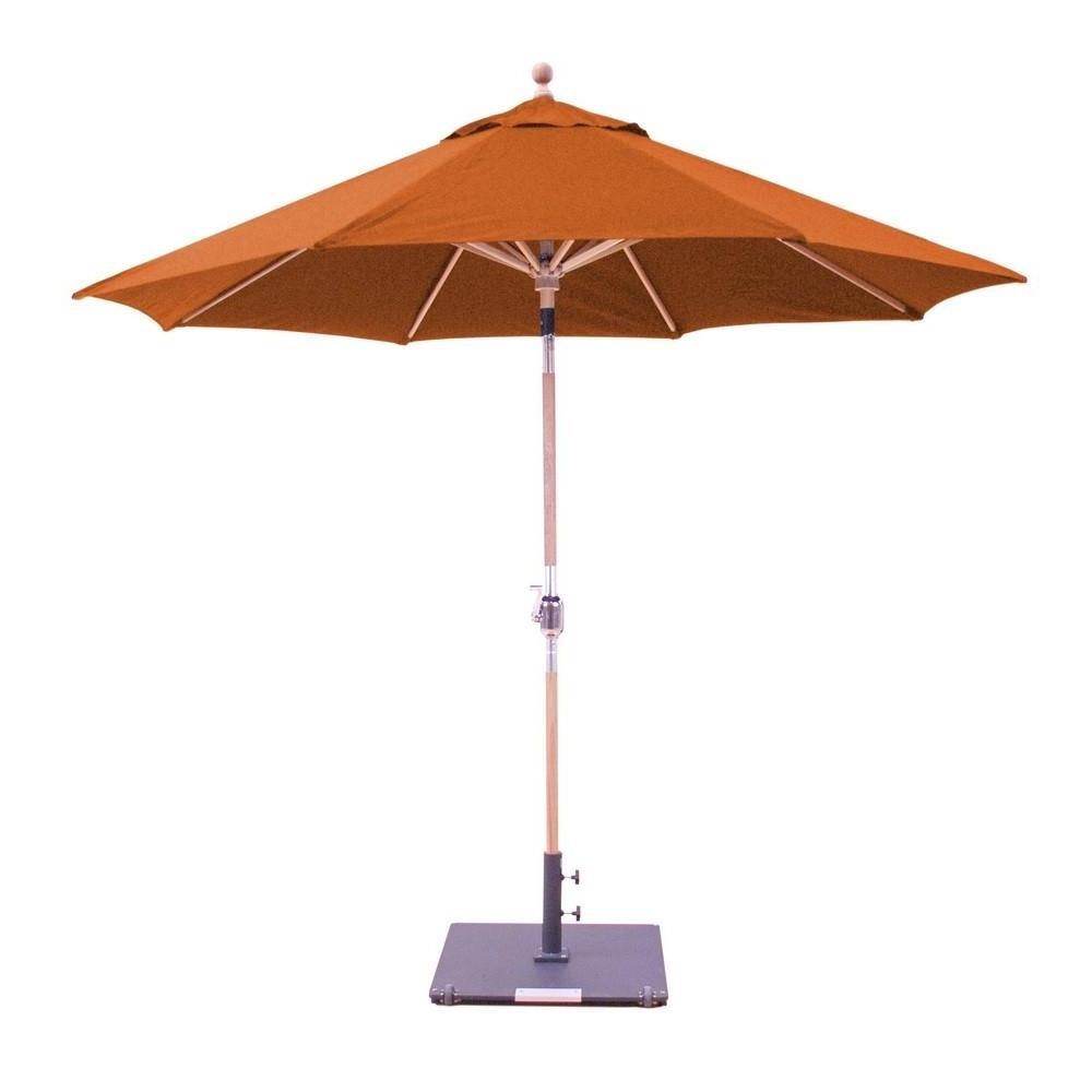 Most Recently Released Sunbrella Teak Umbrellas For 9' Teak Round Quad Pulley Sunbrella Umbrella – Patio Furniture Co (View 8 of 20)