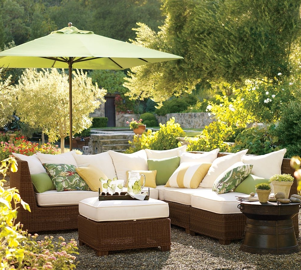 Most Recently Released Yellow Sunbrella Patio Umbrellas In Outdoor Living Room Patio Ideas With Brown Painted Wooden Cheap (View 17 of 20)