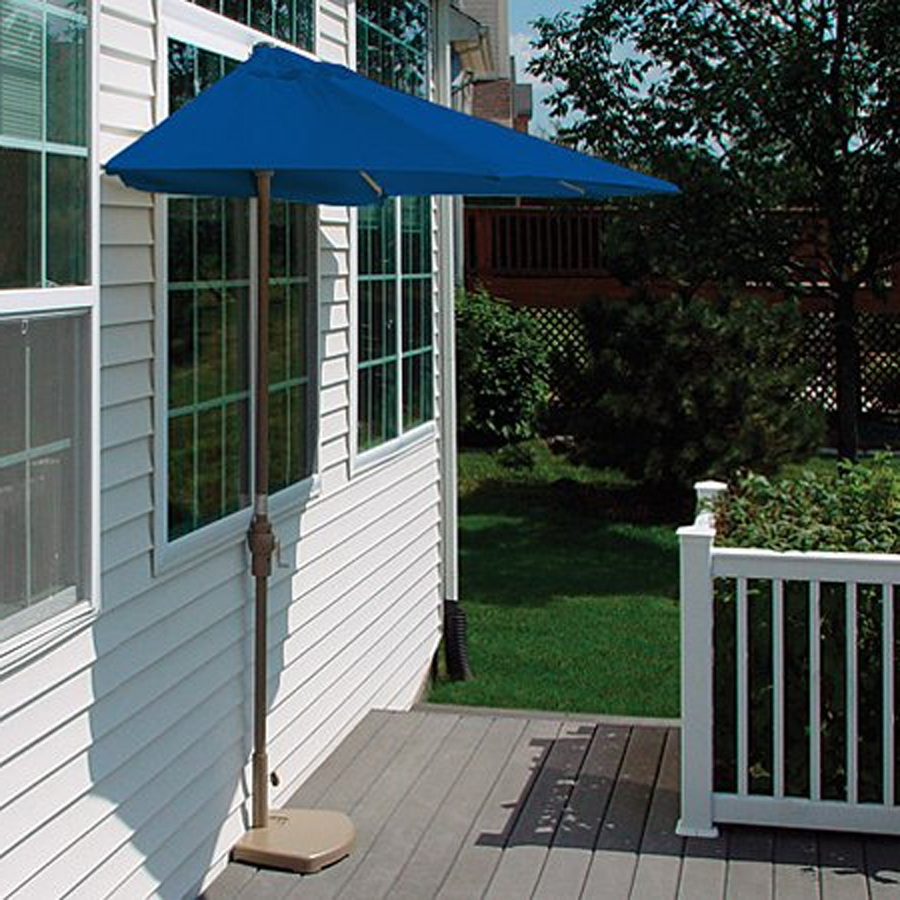 Most Up To Date Half Patio Umbrellas Throughout Shop Blue Star Group Brella Blue Half Round 4 Ft Patio Umbrella At (View 1 of 20)