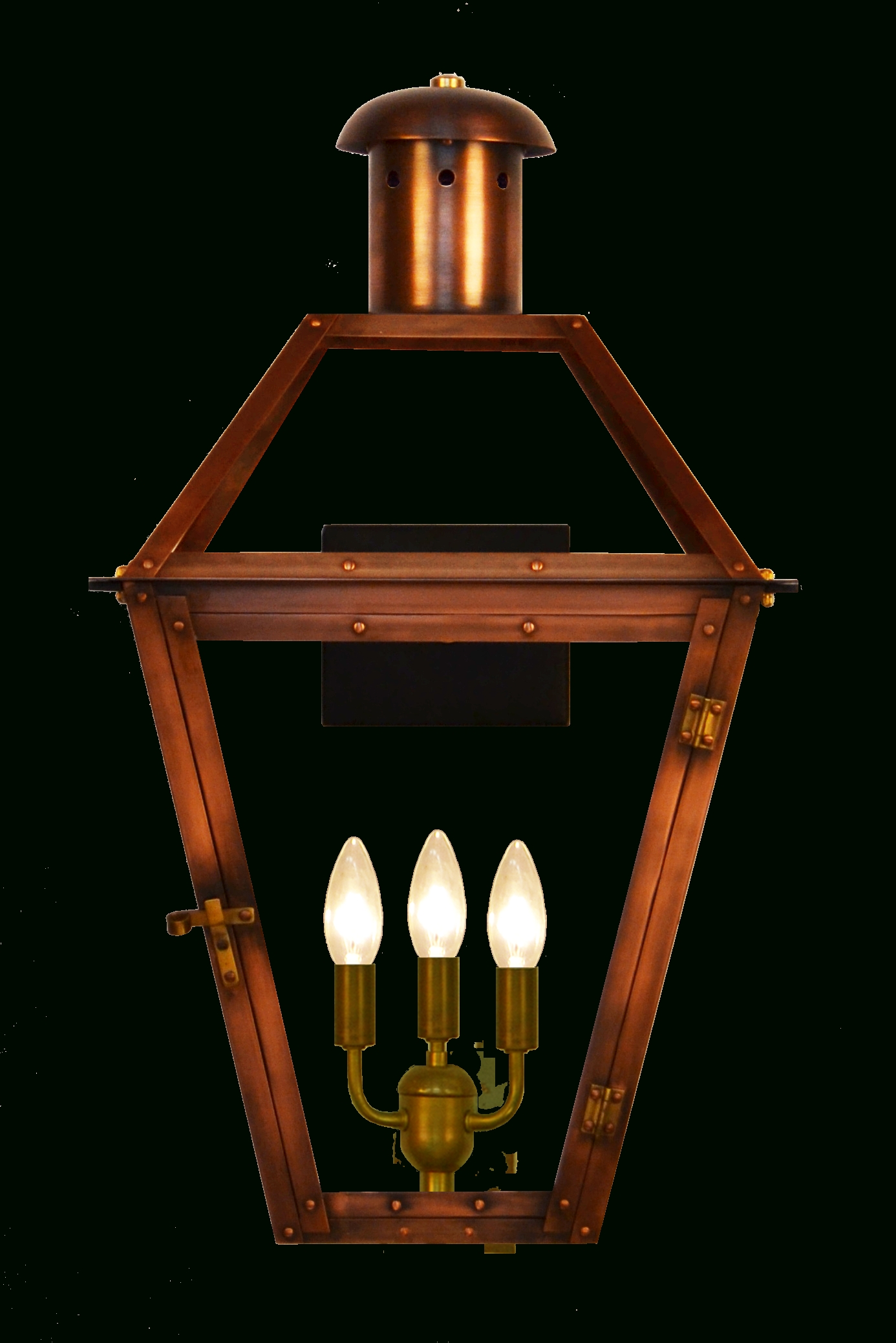 Most Up To Date Large Outdoor Electric Lanterns Inside Georgetown Gas Or Electric Copper Lantern – French Market Lanterns (View 14 of 20)