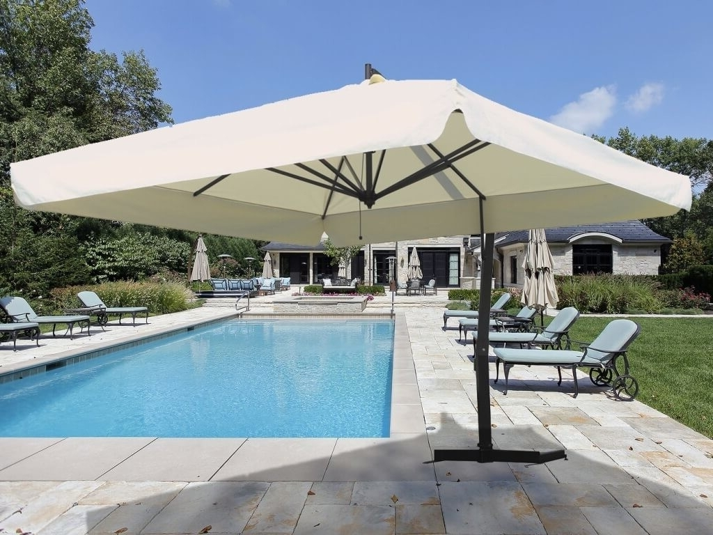 Most Up To Date Outdoor & Garden: White Square Patio Cantilever Umbrella For Home Throughout Square Sunbrella Patio Umbrellas (View 15 of 20)