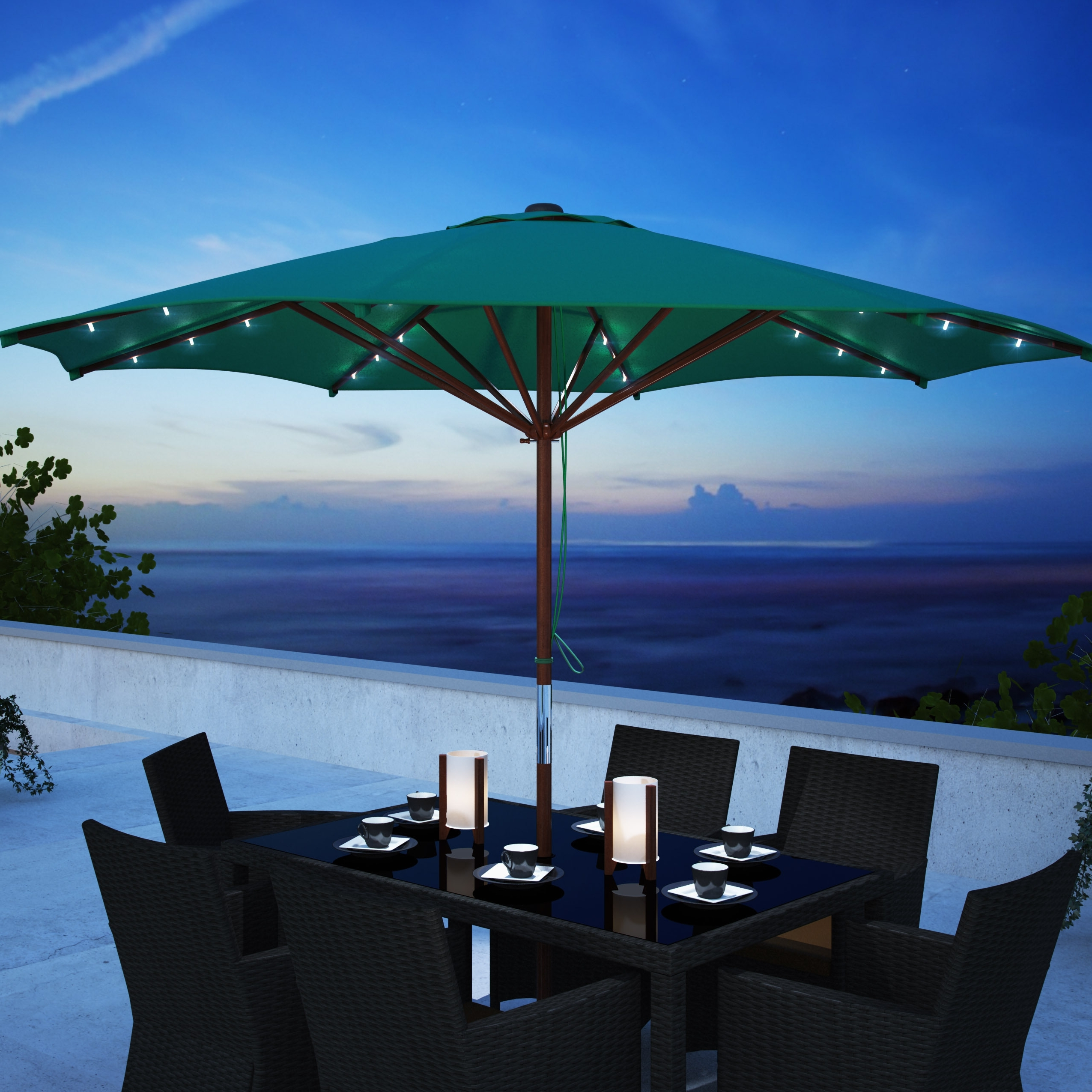 Most Up To Date Patio Umbrellas With Solar Led Lights Within Corliving Patio Umbrella With Solar Power Led Lights Taupe (View 12 of 20)