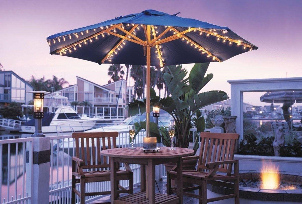 Most Up To Date Solar Patio Umbrellas Pertaining To Solar Powered Patio Umbrella Lights – Popular Umbrella Light Set For (View 13 of 20)