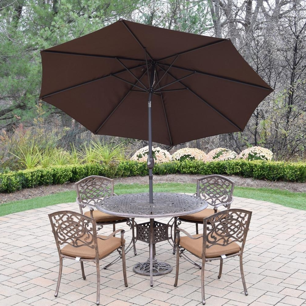 Most Up To Date Sunbrella Patio Table Umbrellas Pertaining To 7 Piece Aluminum Outdoor Dining Set With Sunbrella Brown Cushions (View 8 of 20)