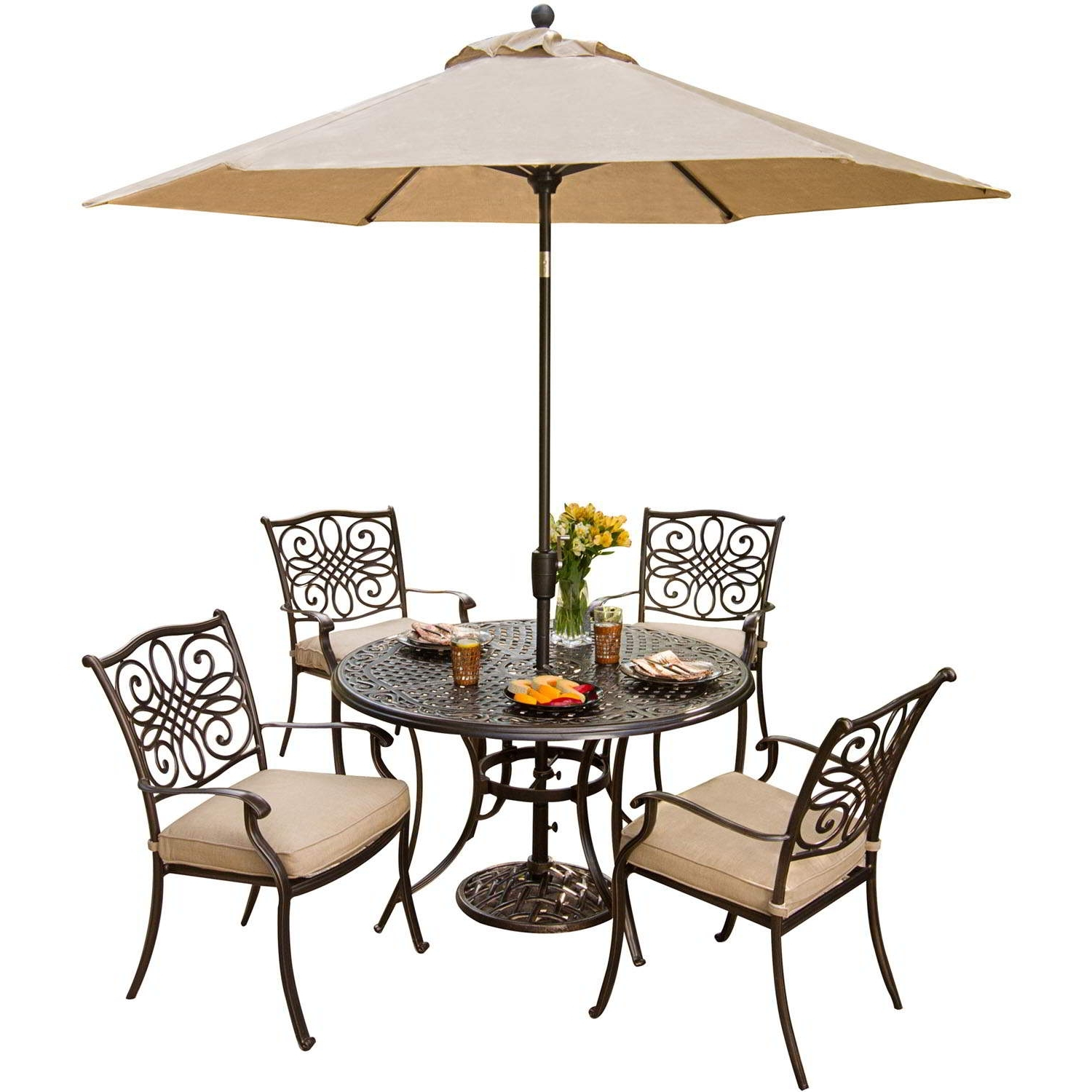 Most Up To Date Traditions 5 Piece Dining Set With Umbrella – Traditions5Pc Su Pertaining To Patio Dining Sets With Umbrellas (View 9 of 20)