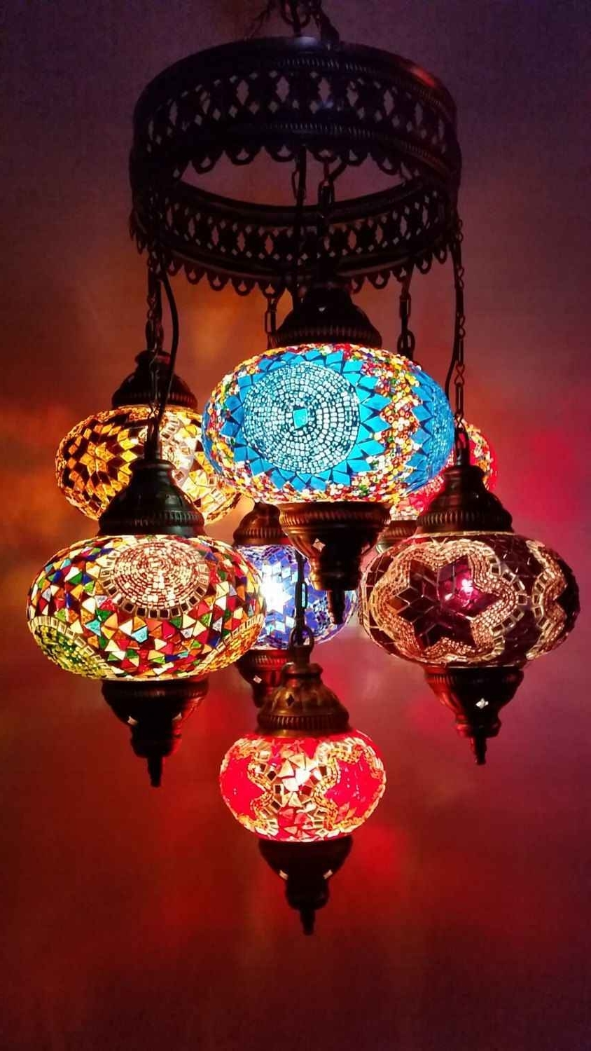 Multicolor Handmade 7 Balls Moroccan Mosaic Hanging Lamp Lantern Intended For Preferred Outdoor Mosaic Lanterns (View 10 of 20)