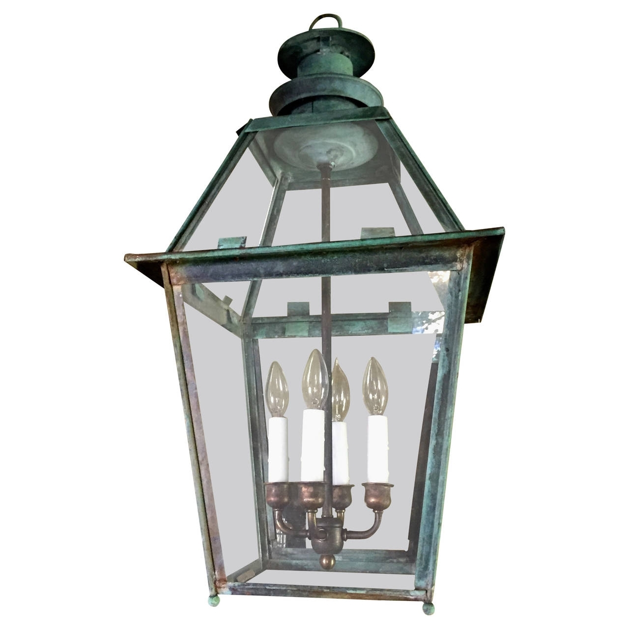 Natural Verdigris Copper Lantern For Sale At 1Stdibs Inside Popular Copper Outdoor Lanterns (View 11 of 20)