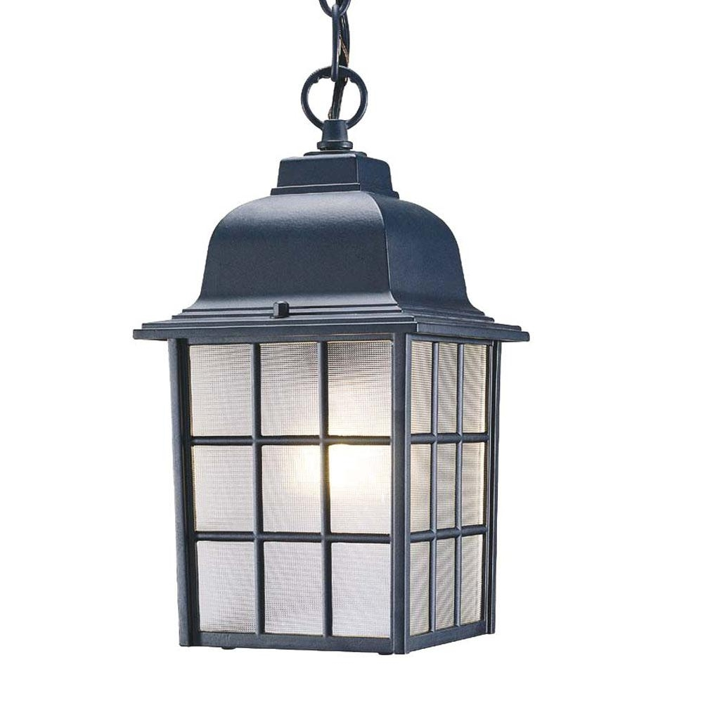 Nautica Collection Hanging Lantern 1 Light Outdoor Matte Black Light For Widely Used Large Outdoor Electric Lanterns (Gallery 17 of 20)