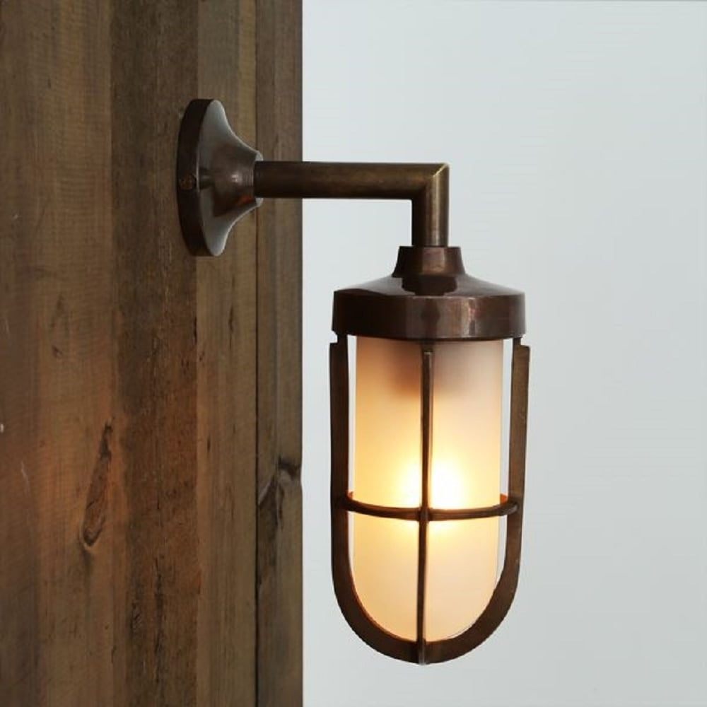 Nautical Design Solid Antique Brass Wall Light With Frosted Glass Shade Inside Popular Industrial Outdoor Lanterns (Gallery 3 of 20)