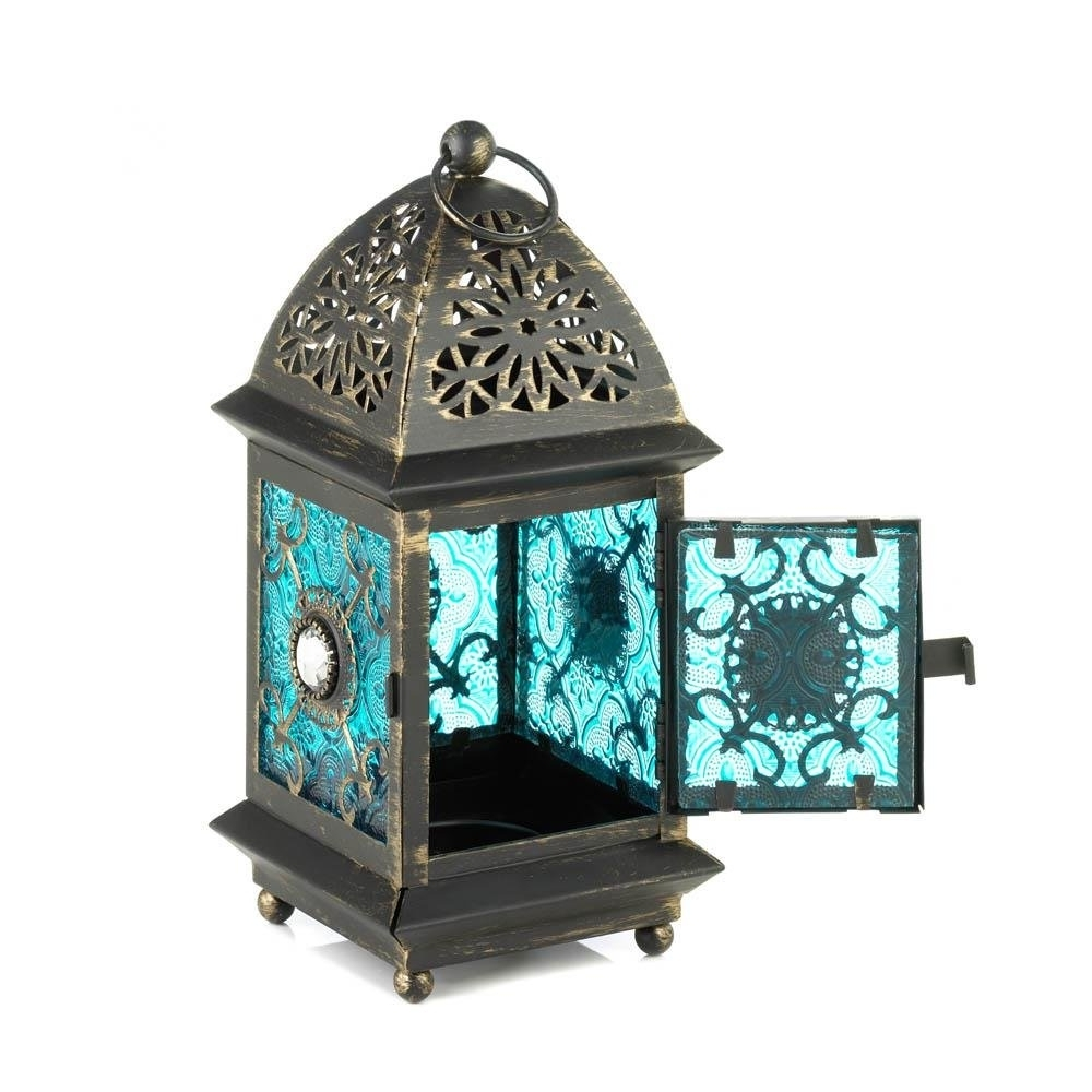 Newest Blue Outdoor Lanterns Regarding Lanterns Outdoor, Jeweled Blue Metal Decorative Floor Patio Outdoor (View 8 of 20)