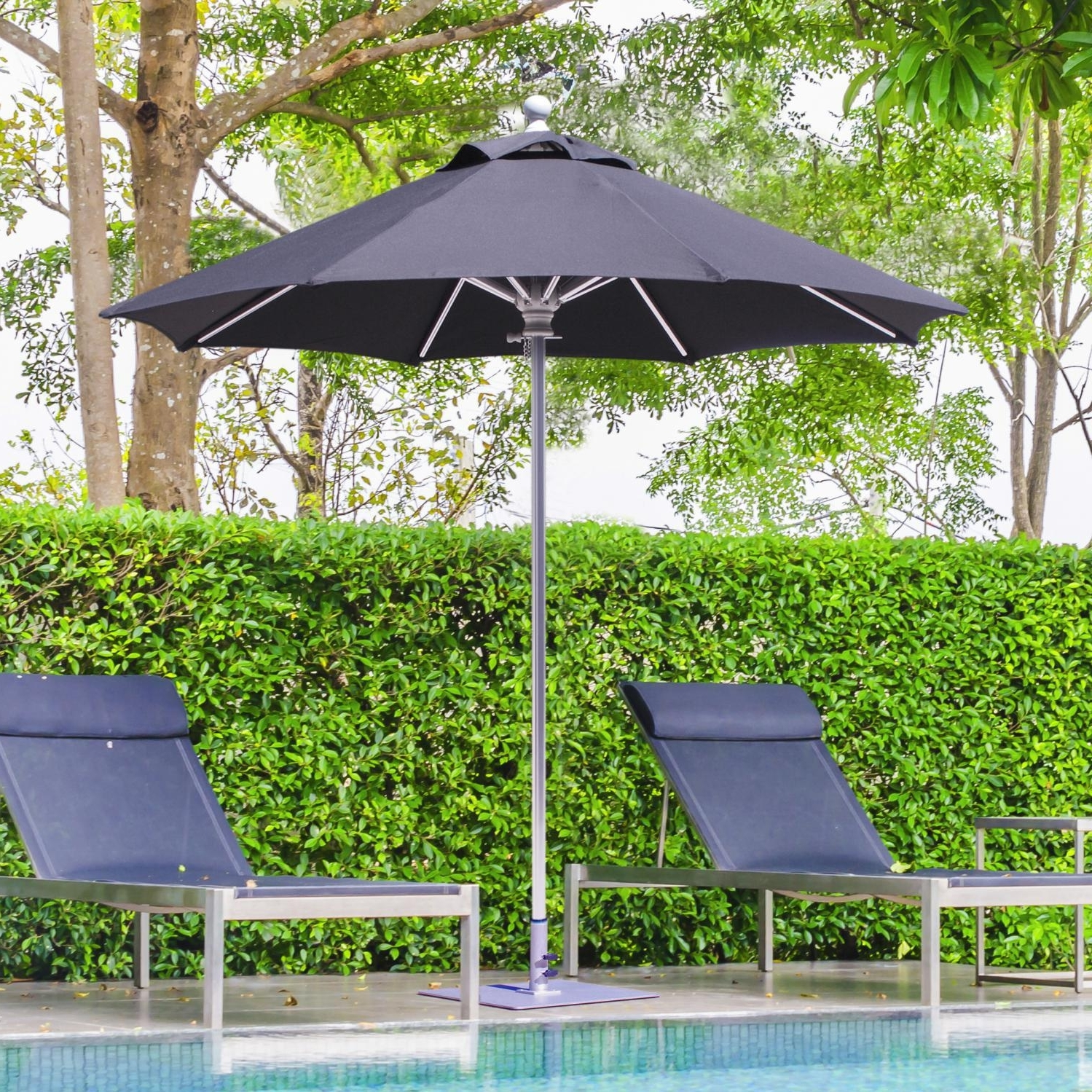 Newest Galtech Sr Series 7 1/2 Ft Aluminum Patio Umbrella With Manual Lift Throughout Sunbrella Outdoor Patio Umbrellas (View 9 of 20)