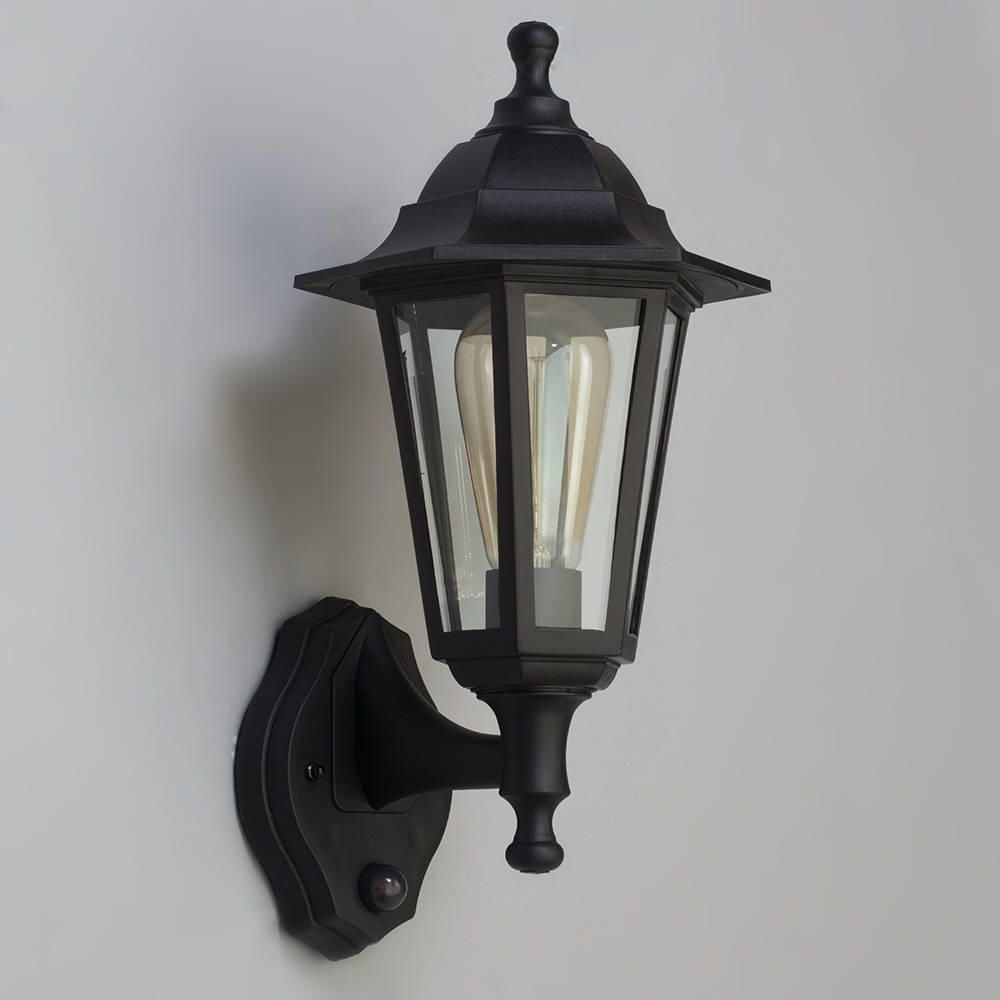 Newest Neri Outdoor Polycarbonate Wall Lantern With Pir – Black With Regard To Victorian Outdoor Lanterns (View 9 of 20)