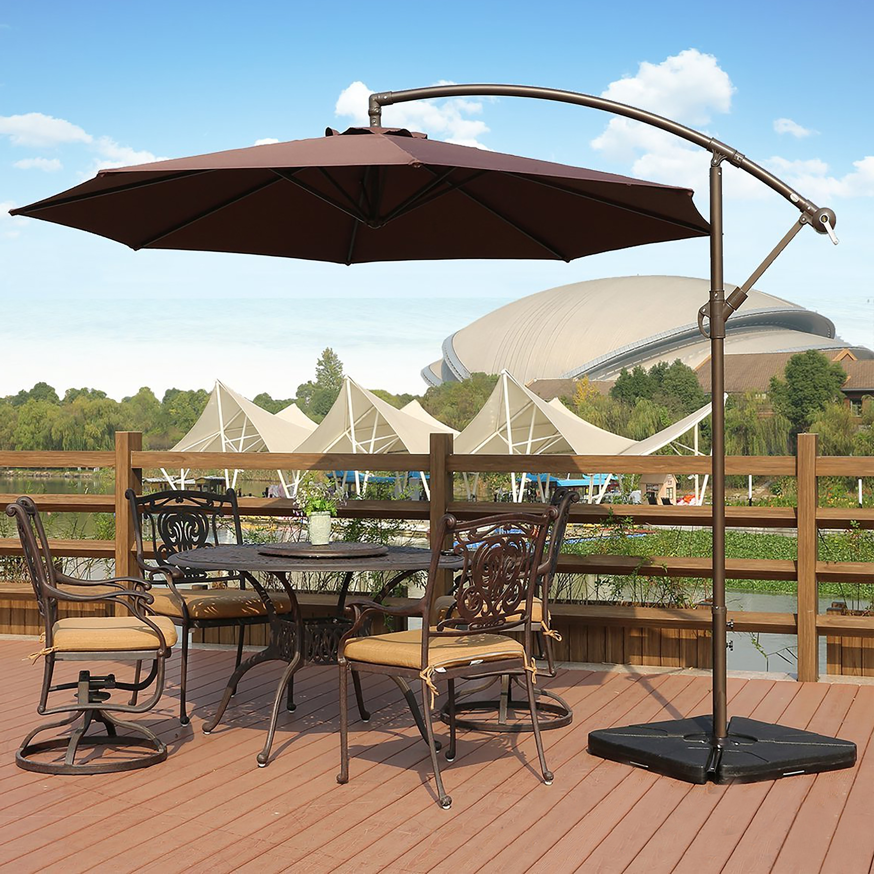 Newest Offset Cantilever Patio Umbrellas Regarding Weller 10 Ft Offset Cantilever Hanging Patio Umbrellawestin (Gallery 5 of 20)