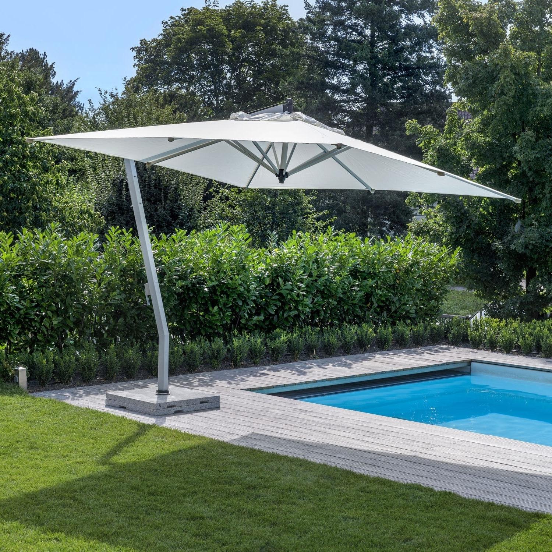 Newest Offset Patio Umbrella / Wooden / Aluminum – Woodline – Fischer Möbel Within Patio Umbrellas With Fans (View 14 of 20)
