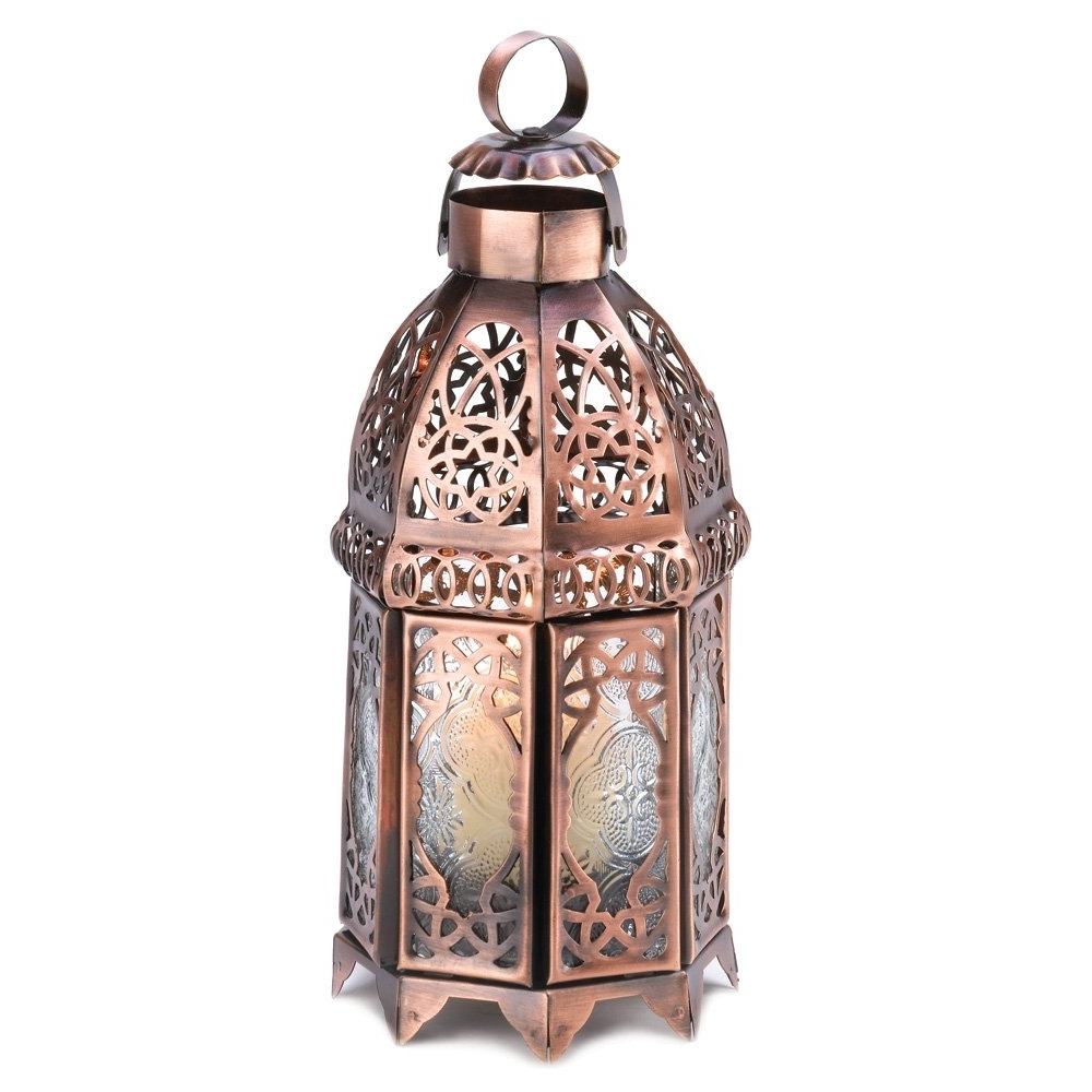 Newest Outdoor Lanterns For Tables Pertaining To Moroccan Lanterns, Rustic Lantern Table Lamp, Copper Decorative (View 12 of 20)